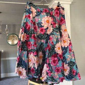 Hell Bunny Nostalgic Awe A-Line Skirt In Tropical